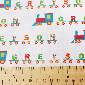Personalized Train Set Child's Fabric for making quilts, throw pillows, curtains, and other nursery decorations in a child's room