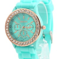 Juice Action Unisex Geneva Quartz Analog Rhinestone Watch Mint Green