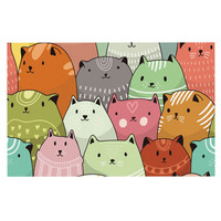 "Snap Studio ""Kitty Attack"" Cat Illustration Decorative Door Mat"