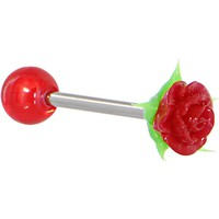 Red And White Silicone Rose Barbell Tongue Ring