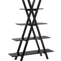Modern Bookcase With Four Spacious Shelves Home Office Furniture Black Finish