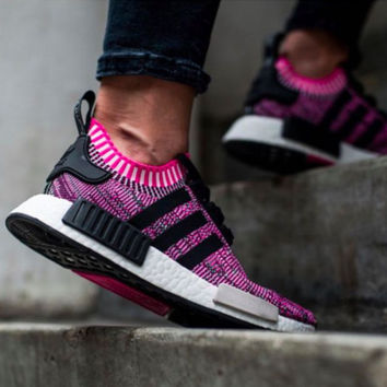 """""""Adidas"""" NMD Boost Fashion Sneakers Trending Running Sports Shoes (rose red-black line )"""