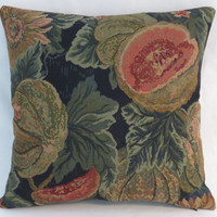 "Melon and Sunflower Tapestry Pillow, Cantaloupe Fruit Flowers Leaves in Green Orange Gold Black Navy, Old World Style, 17"" Sq, Ready Ship"