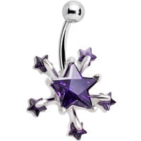 Purple Shooting Stars Belly Ring | Body Candy Body Jewelry
