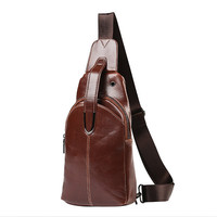 Pu Leather Crossbody Bag Solid Sling Bag Chest Bag For Men