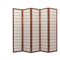 5 panel cherry finish room divider shoji screen