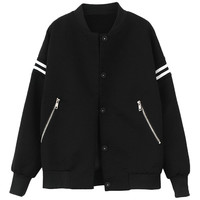Zipped-pockets Stand-collar Baseball Jacket