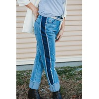 Distressed Roll Up Jeans