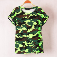 SIMPLE - Camouflage Round Neck bat Short Sleeve Women Casual Sweatshirt Shirt Top blouse T-shirt b4206