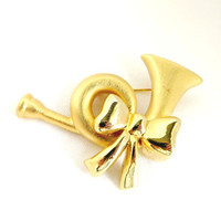 Vintage Horn Bow Brooch, Gold Tone Holiday Pin