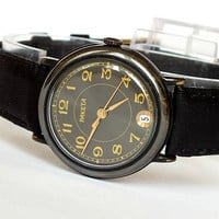 Stylish men's watch Raketa. Vintage mechanical watch for men. Black face, date calendar mens watch. Black leather strap watch. Gift for him