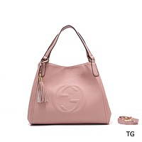 """GUCCI"" new fashion female casual lychee embossed versatile messenger bag Pink"