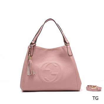 """""""GUCCI"""" new fashion female casual lychee embossed versatile messenger bag Pink"""