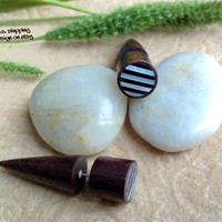 """Fake Gauges, """"Timber Spikes"""" Natural, Handcrafted, Sono Wood, Shell, Horn"""