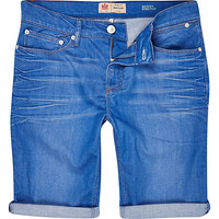 River Island MensBright blue skinny stretch denim shorts