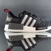 Adidas NMD R1 3M Reflective shoelace Fashion Trending Running Sports Shoes NMD RUNNER PK Color Black&Grey