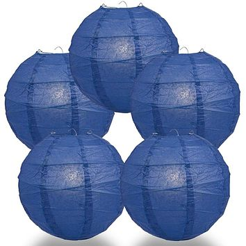 "BULK PACK (5) 6"" Navy Blue Round Paper Lantern, Crisscross Ribbing, Chinese Hanging Wedding & Party Decoration"