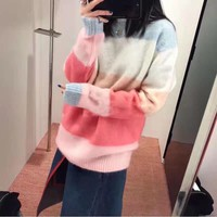 """Acne Studios"" Women Sweet Fashion Multicolor Stripe Long Sleeve Round Neck Sweater Tops"