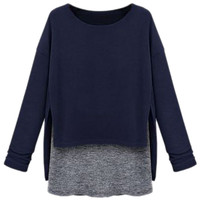 ROMWE Asymmetric Split Long Sleeved Blue T-shirt