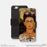 Art oil painting Frida Kahlo iPhone Samsung Galaxy leather wallet case cover 050