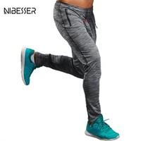 NIBESSER Brand Summer Fitness Pants Men Elastic Breathable Sweat Pants Grey Drawstring Outwear Clothing Male Pants Trousers New