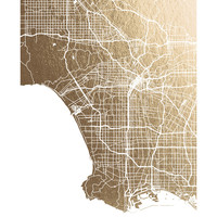 Los Angeles Map Foil-Stamped Wall Art by Alex Elko Design | Minted