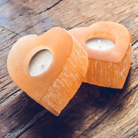 Orange Selenite Heart Candleholder