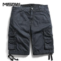 Summer Cotton Cargo Shorts For Men Casual Military Solid Tactical Knee Length Men Shorts 12 Colors