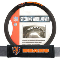 Chicago Bears NFL Steering Wheel Cover and Seatbelt Pad Auto Deluxe Kit