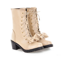 Womens Vintage Lace Up Military Chunky Mid Heels Mid Calf College Bowknot Boots