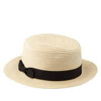 Tan Ribbon Bow Straw Boater Hat by Charlotte Russe