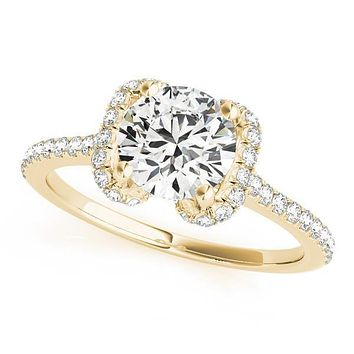 Patricia Round Center Stone Bow Halo 4 Prong Engagement Ring