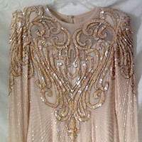 100% SILK Kathryn Conover By Night Womens Evening Dress Pink Sequins & Beads Size 4