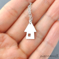 Silver House necklace, sweet home, simple necklace, house charm, mom, cottage, lovely jewelry by jewelmango