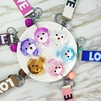 Transparent Crystal Dog Keychain Love Rope  Key Chains Decorative Pendants for Women Bags Accessories Car Key Cute GiftsKawaii Pokemon go  AT_89_9