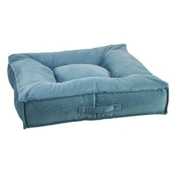 Piazza Square Dog Bed — Dream Fur Breeze + MicroVelvet Teal