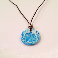 Personal Essential Oil Clay Diffuser Necklace Petite Turquoise Flower Pendant with Silver Bead Hemp Cord, Children/Teen Aromatherapy Pendant