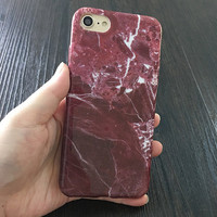 2017 Maroon with white veins marble Phone Case For iPhone 7 7Plus 6 6s Plus 5 5s SE