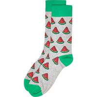 River Island MensGrey watermelon print socks