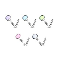 WILDKLASS 5 pcs Value Pack Illuminating Stone Set 316L Surgical Steel L Bend Nose Stud Rings