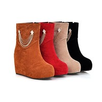 Chains Wedges Boots High Heels Women Shoes Fall Winter 5077