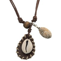 Shell & Stone Pendant Cord Necklace
