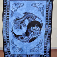 Thai Dragon Print Blue Tapestry Hippy Wall Hanging Indian Throw Bedspread Queen Bed Decor Ethnic Sheet Decorative Art