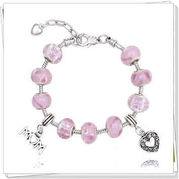 Mothers Day Gift Awesome Shiny Pink Crystal Pandora Style Bracelet [10893372431]