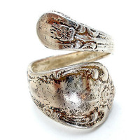 Vintage Silver Plated Spoon Ring Size 6 Oneida Hand Made