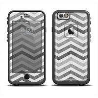 The Gray Toned Wide Vintage Chevron Pattern Apple iPhone 6 LifeProof Fre Case Skin Set