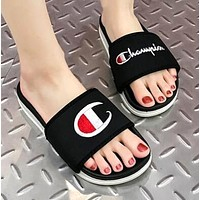 Champion Summer Popular Women Men Casual Flats Beach Couple Sandals Slippers Shoes