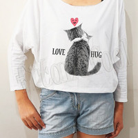 Love Cat TShirts Meow Shirts I like Cats Shirts Heart Shirts Bat Sleeve Shirts Crop Long Sleeve Oversized Sweatshirt Women Shirt -FREE SIZE