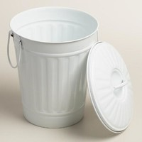 Large Matte White Retro Metal Trash Can