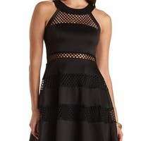 Mesh Cut-Out Skater Dress by Charlotte Russe
